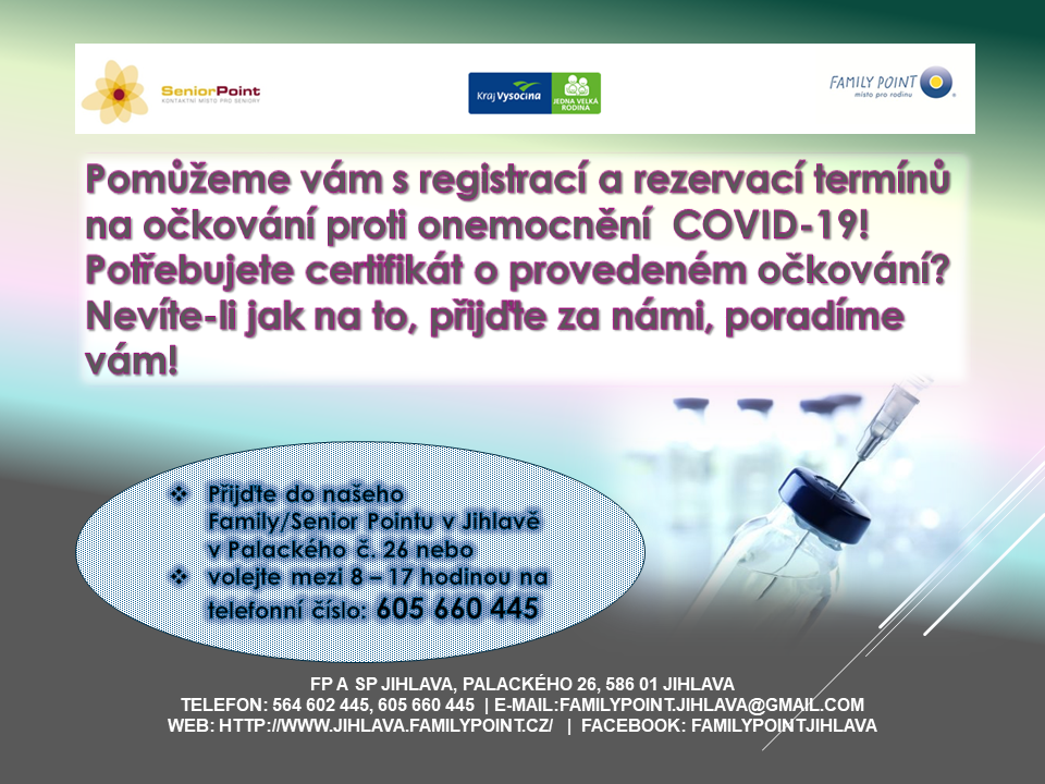 Nevíte-li si rady s registrací na očkování proti onemocnění COVID-19, navštivte nás, rády vám pomůžeme a poradíme!